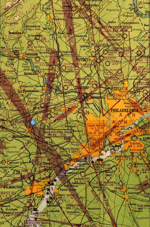 An early 1947 sectional shows Brandwine among many other small airports no longer here.